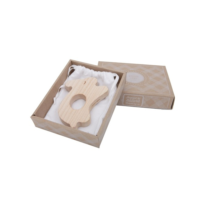 Wooden Story rabbit teether in cardboard packaging