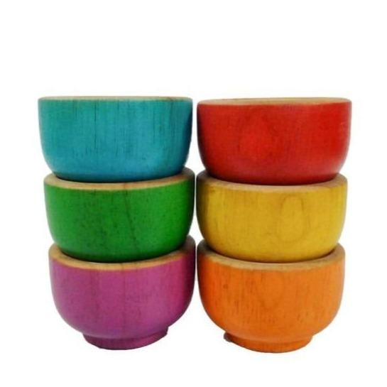 Qtoys Wooden Rainbow Sorting Bowls