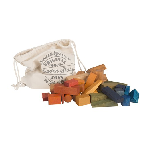Wooden Story XL wooden blocks in sack - 50 pieces rainbow coloured