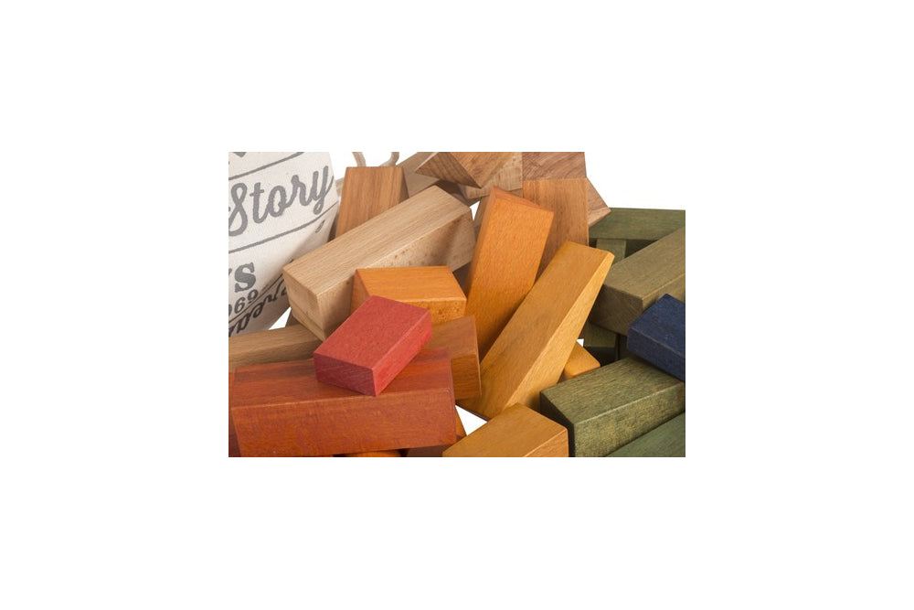 Close up of Wooden Story Rainbow Blocks in sack 50 pieces