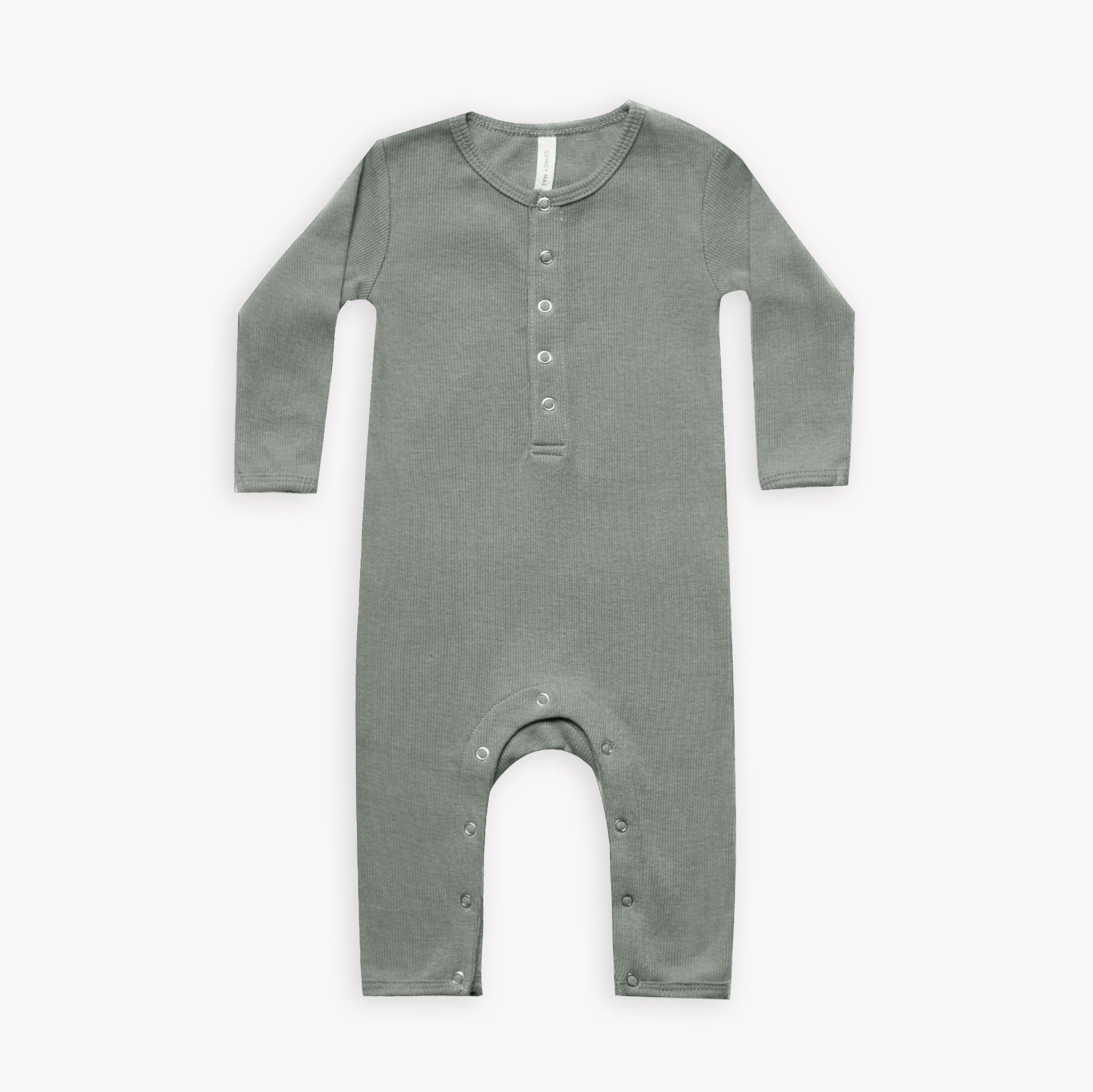 Quincy Mae organic ribbed jumpsuit - eucalyptus