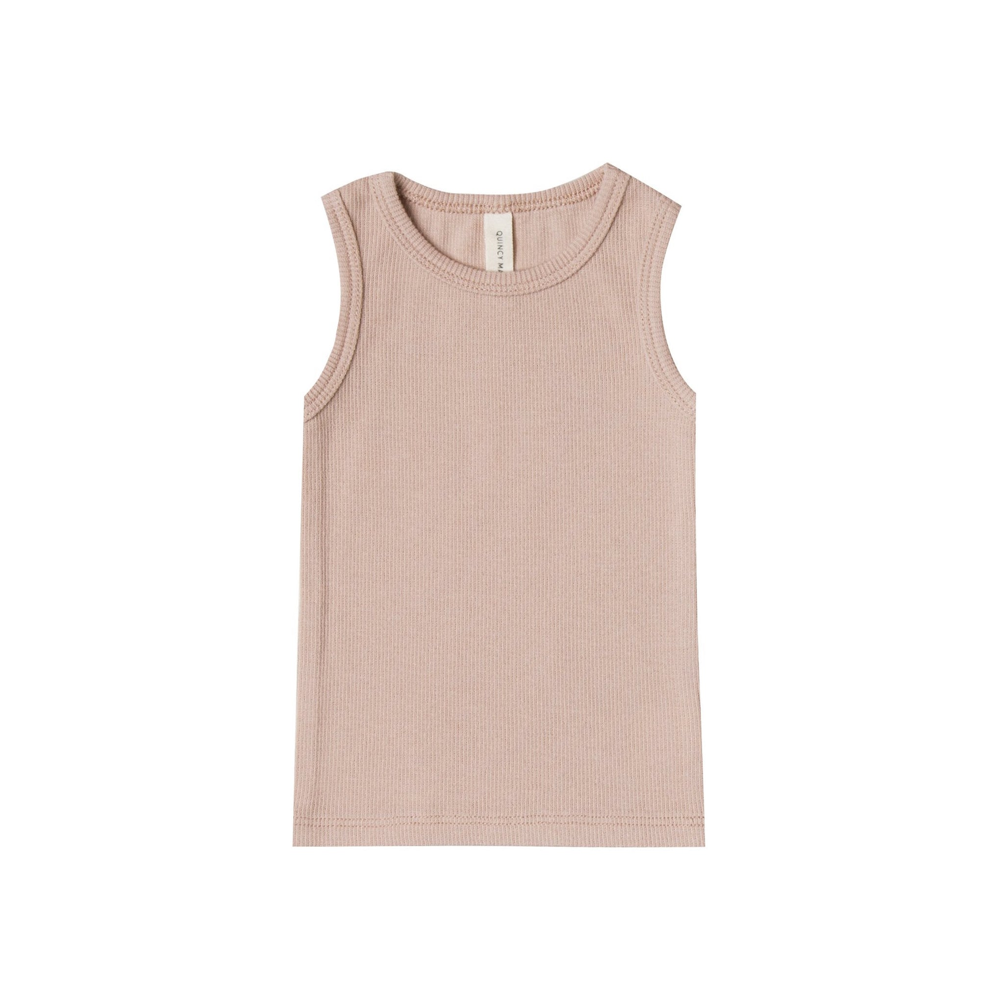 Quincy Mae ribbed organic cotton baby tank top in rose