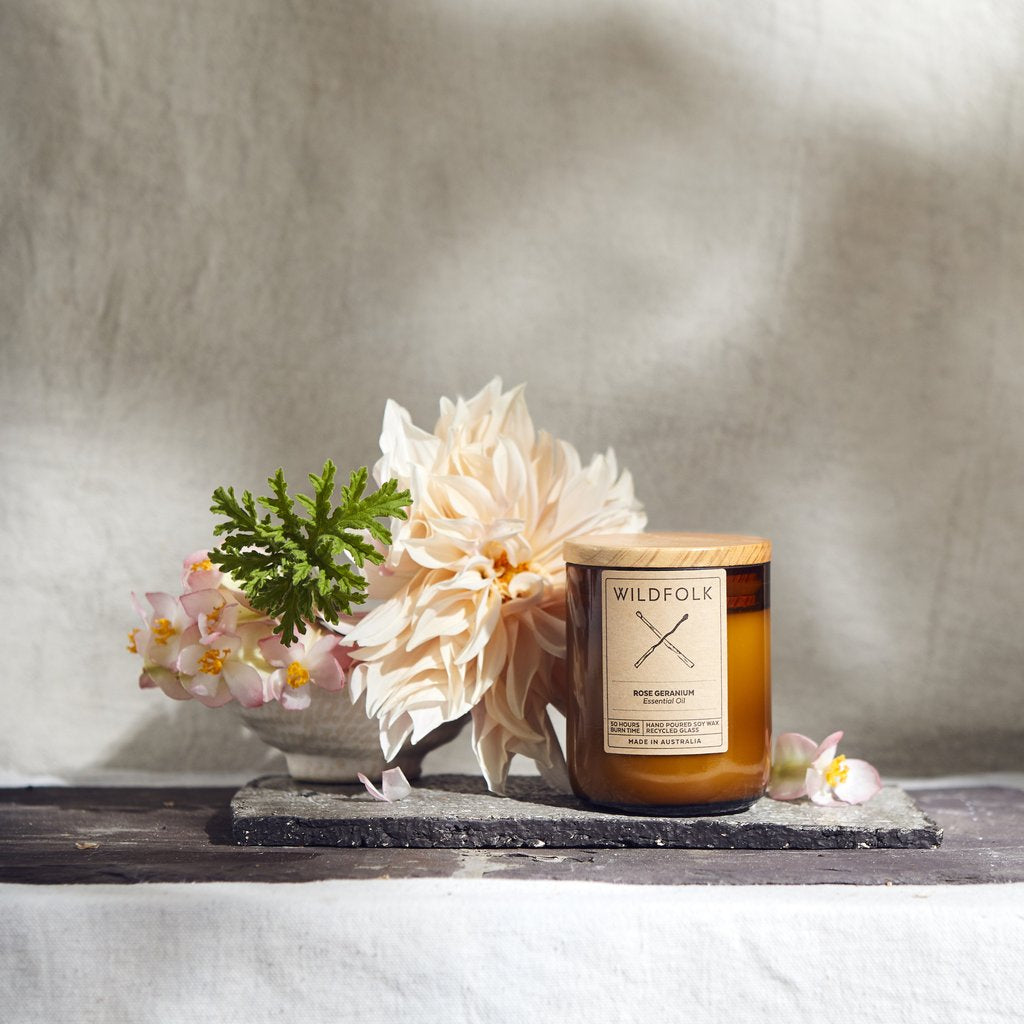 Wildfolk Soy Candle in Amber Glass - Rose Geranium