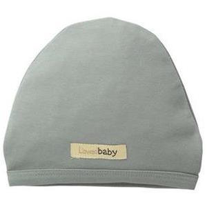 Baby wearing Loved Baby organic cotton cute cap in seafoam green