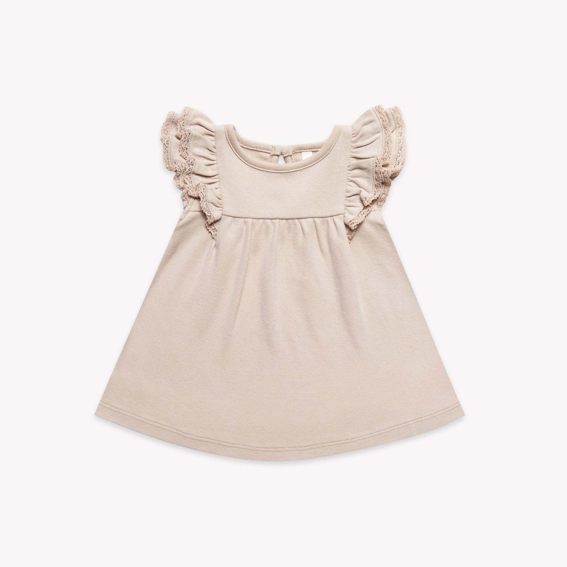 Quincy Mae organic cotton short-sleeve flutter dress rose
