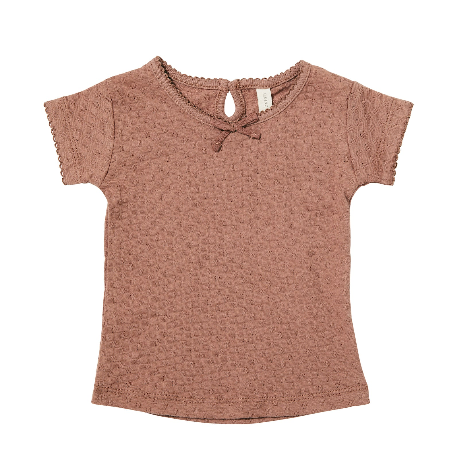 Quincy Mae organic cotton pointelle tee - clay