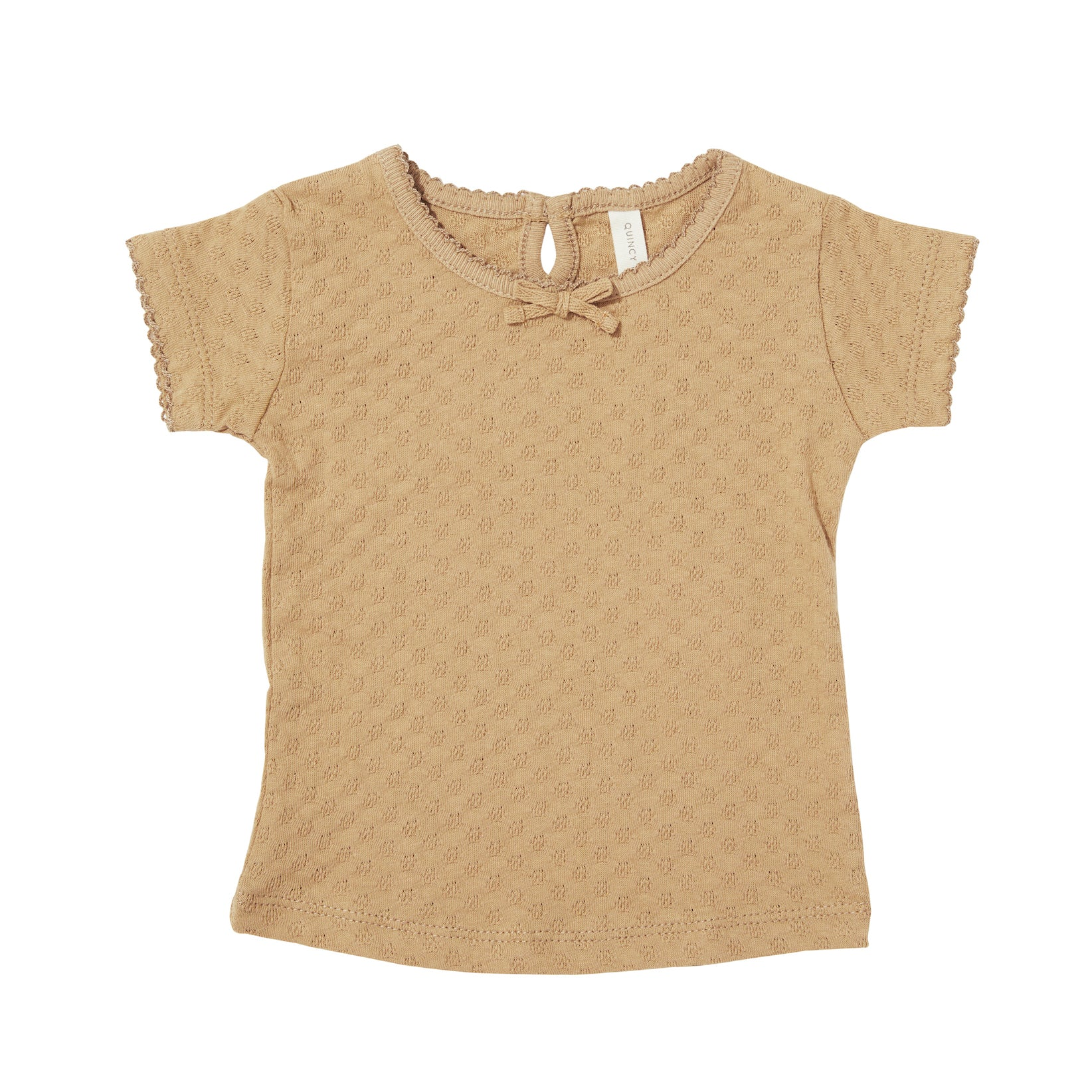 Quincy Mae organic cotton pointelle shortsleeve tee - honey