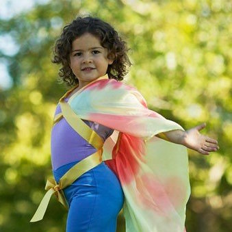 Child wearing Sarah's Silks silk wings - butterfly