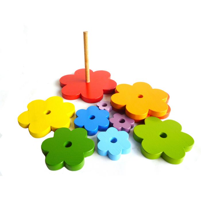 Qtoys Wooden Stacking Flowers