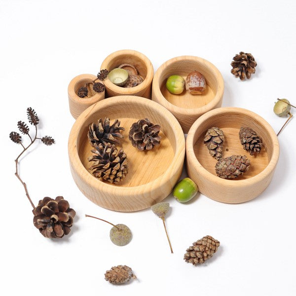 Grimm's wooden stacking bowls - natural