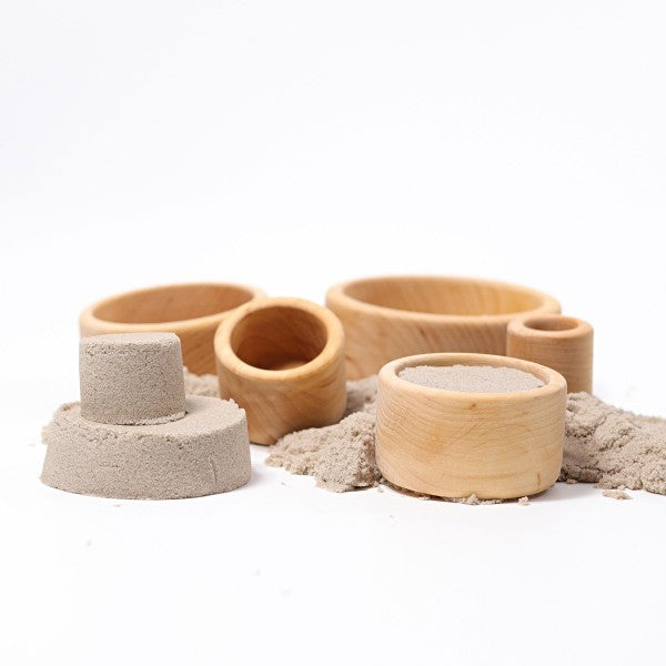 Grimm's Spiel & Holz wooden stacking bowls natural with sand