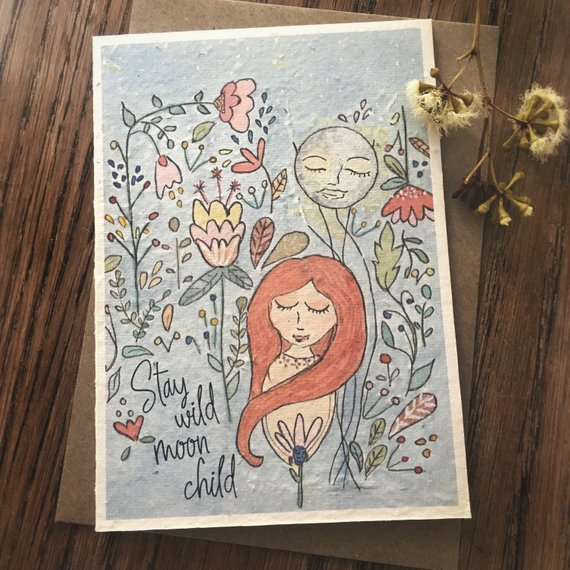 Mama and Daisy plantable greeting card - Stay Wild Moon Child