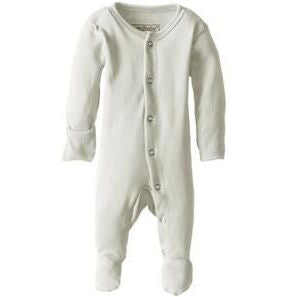 Loved Baby Organic Cotton Footed Overall in stone - a light neutral colour