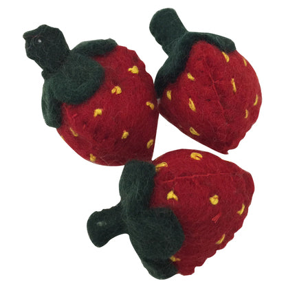 Papoose felt fruit - pretend food - 3 strawberries. Toy made of pure wool