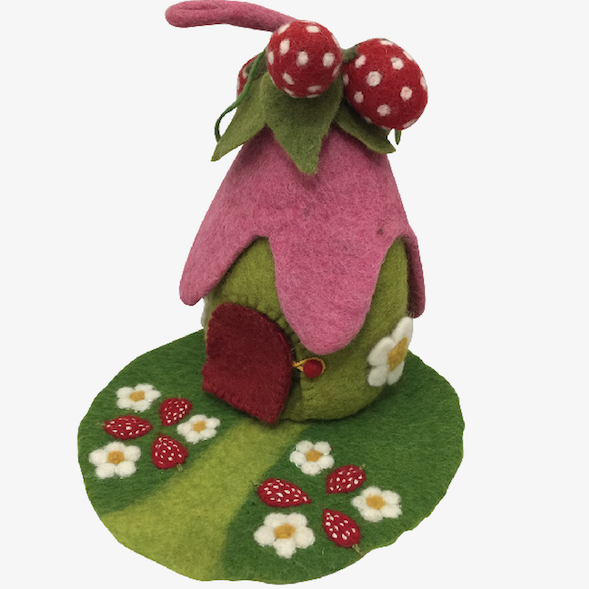 Papoose Felt Strawberry House and Mat