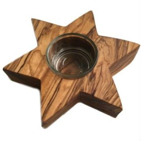Olivewood tealight candle holder - star