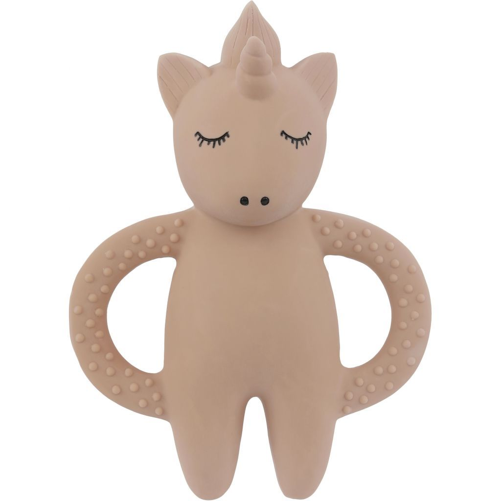 Konges Sloejd Teeth Soother Unicorn Rose - natural rubber teething toy for babies