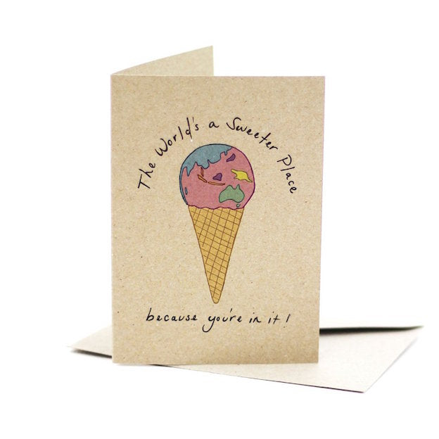 Deer Daisy kraft board greeting card that says The World's a Sweeter Place Because You're in it. Features an illustration of an ice cream cone on the front.
