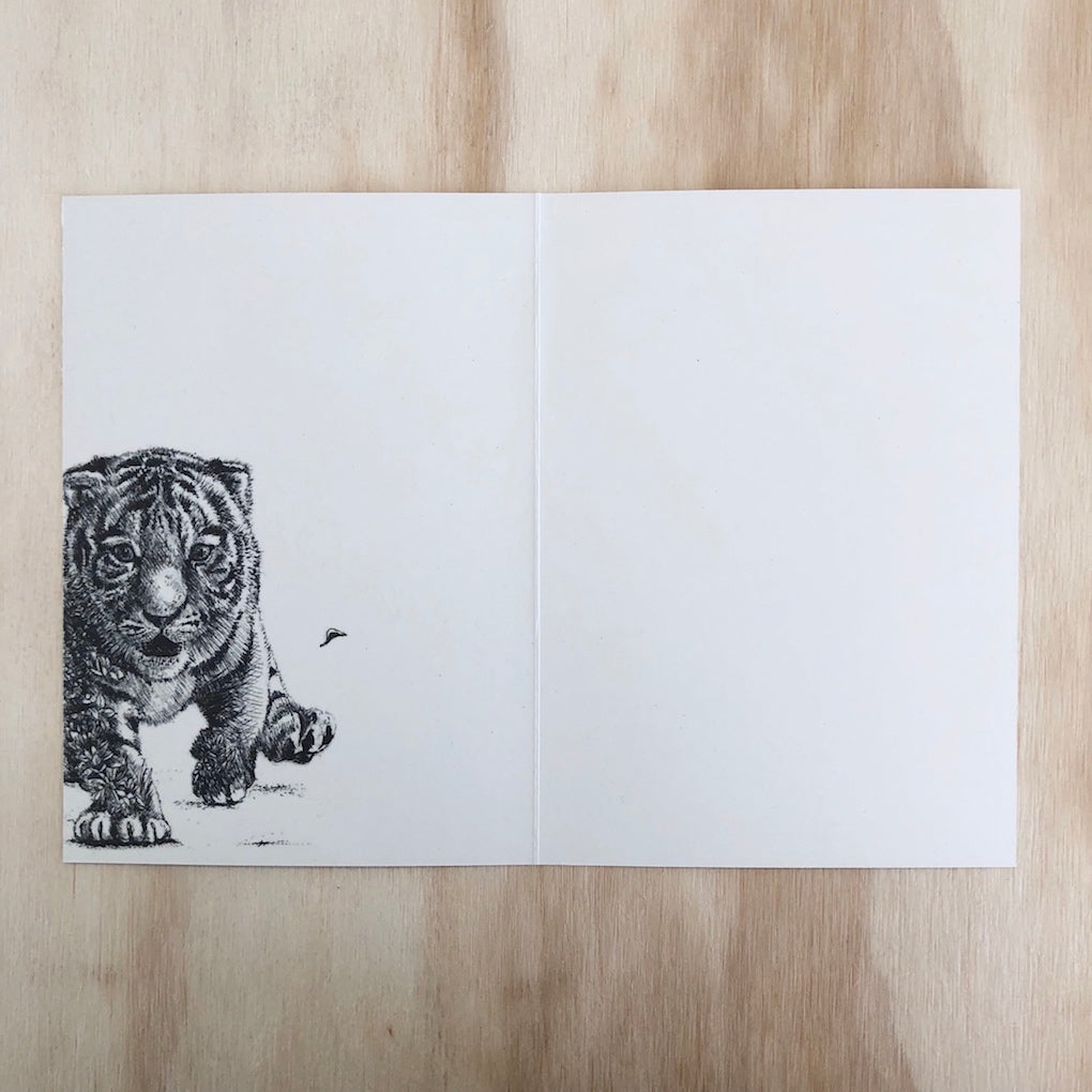 Marini Ferlazzo Sumatran Tiger Cub greeting card - open showing the inside with illustration of baby Sumatran tiger on the left hand side
