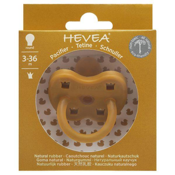 Hevea pacifier turmeric round teat - made from natural rubber