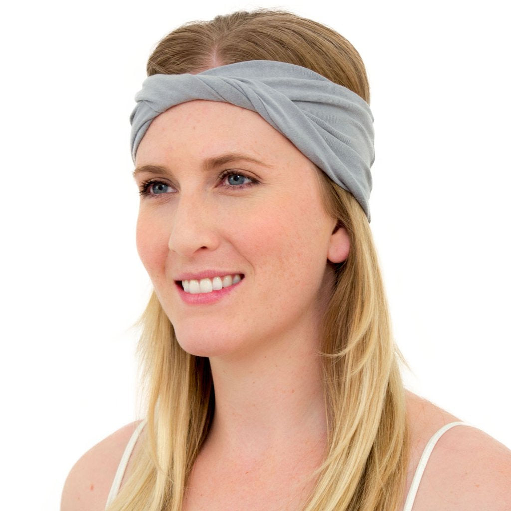 Kooshoo organic cotton yoga twist headband in limestone grey