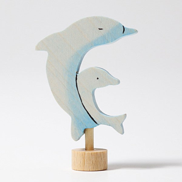 Grimm's wooden handpainted dolphins decoration