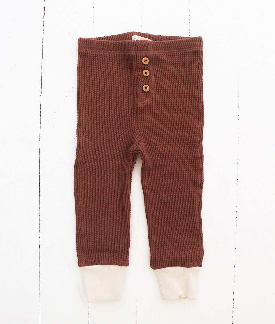 Fin and Vince Pima Cotton Waffle Button Pant - Spice