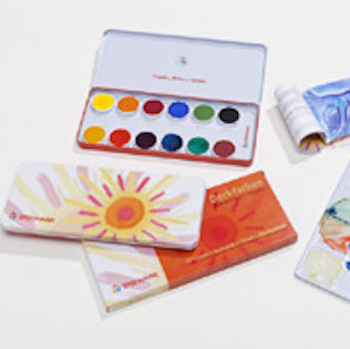 Stockmar Watercolour Paint Set - 12 Opaque Colours in Tin with Opaque White Brush and Mixing Palette