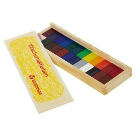 Stockmar Wax Crayons w Pure Beeswax - 24 Blocks in Wooden Box