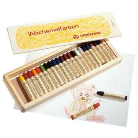 Stockmar Wax Crayons w Pure Beeswax - 24 Sticks in Wooden Box