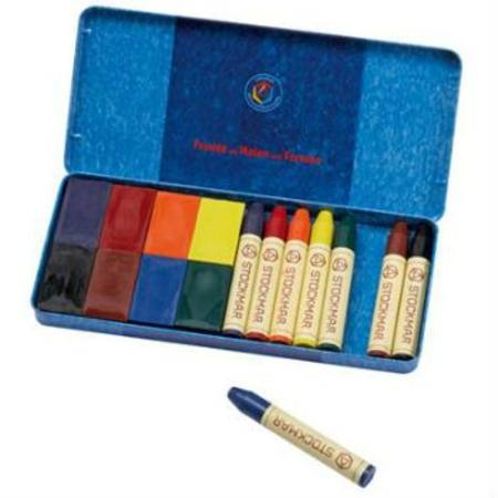 Stockmar Wax Crayons w Pure Beeswax - 8 Blocks + 8 Sticks in Tin
