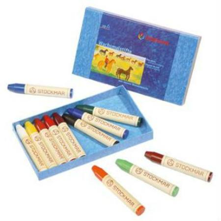 Wax Crayons w Pure Beeswax - 12 Sticks in Cardboard Box