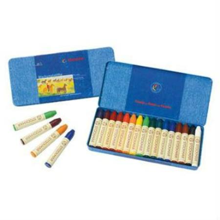Stockmar Wax Crayons with Pure Beeswax - 16 Sticks in Tin