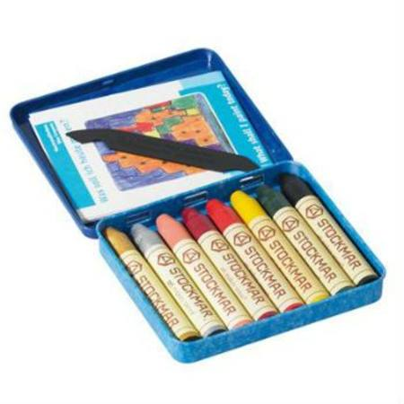 Stockmar Beeswax Crayons 8 Sticks in Tin Supplementary Set with Gold and Silver