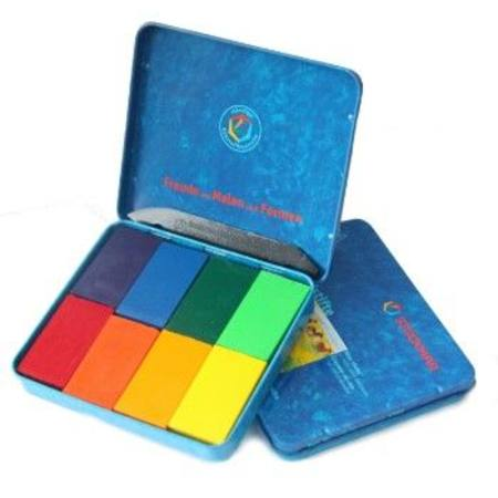 Stockmar Beeswax crayons in tin - 8 blocks Sydney mix