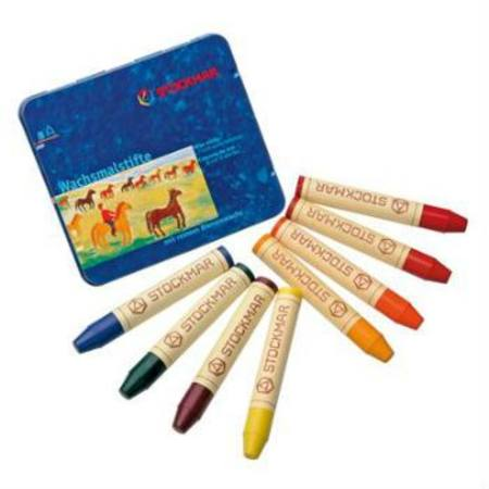Stockmar Beeswax Crayons 8 Sticks in Tin - Waldorf Mix