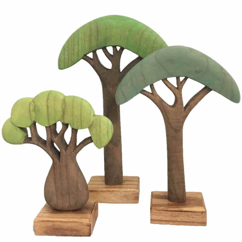 Papoose wooden African trees - set of 3