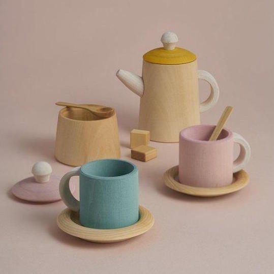Raduga Grez pastel wooden tea set
