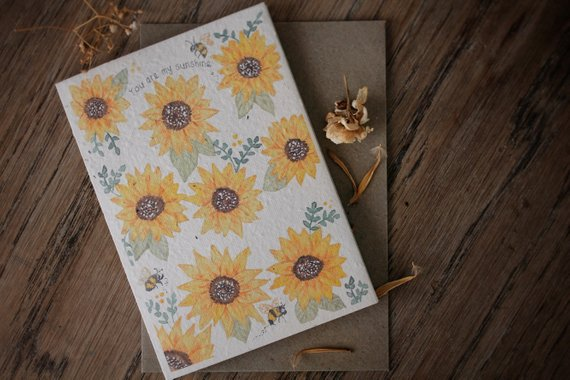 Mama and Daisy plantable greeting card - You Are My Sunshine - featuring nine yellow sunflowers