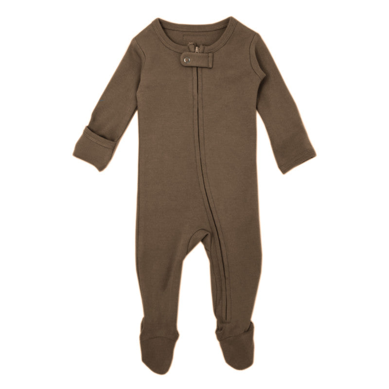 L'oved baby organic cotton zipper overall in bark