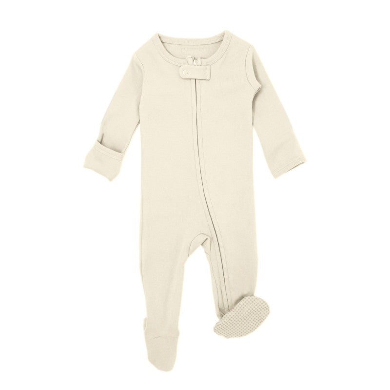 L'oved baby organic cotton zipper overall in beige