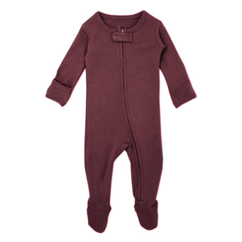 L'oved baby organic cotton zipper overall in eggplant