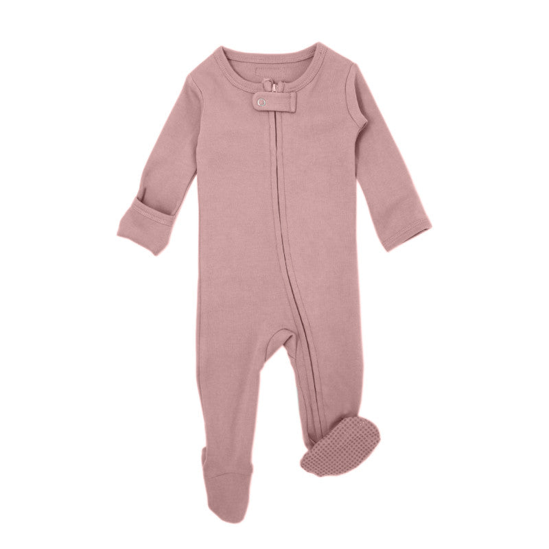 L'oved baby organic cotton zipper overall in mauve