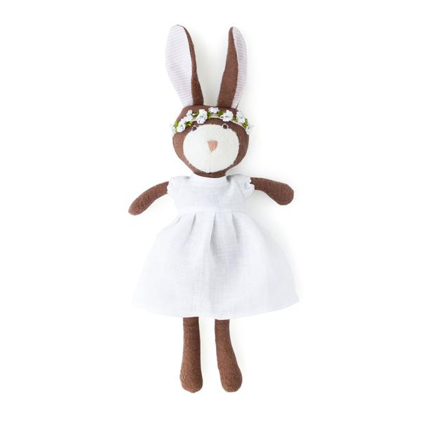 Hazel Village Zoe Rabbit in White Linen Spring Dress Outfit