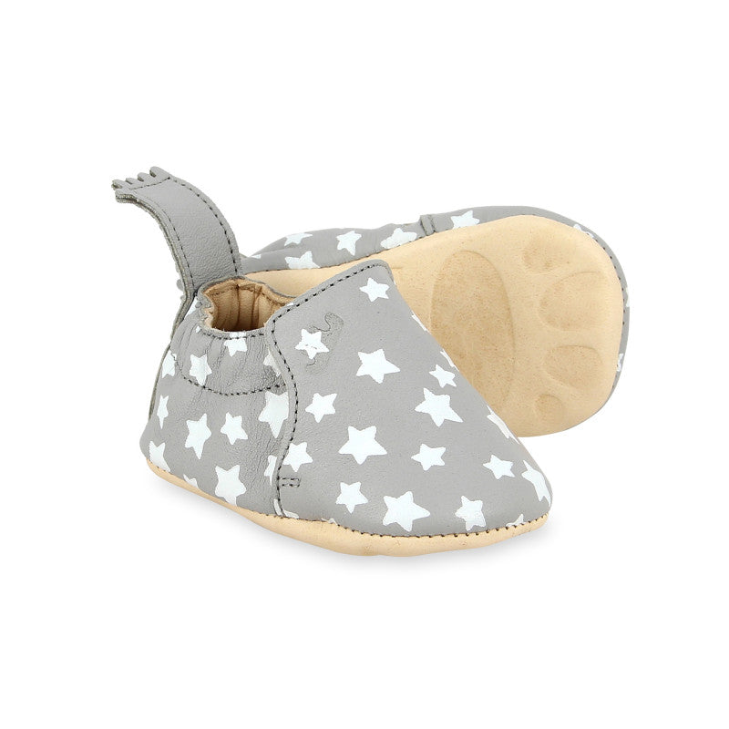 Pair of Easy Peasy pre-walker baby shoes in grey with white stars print
