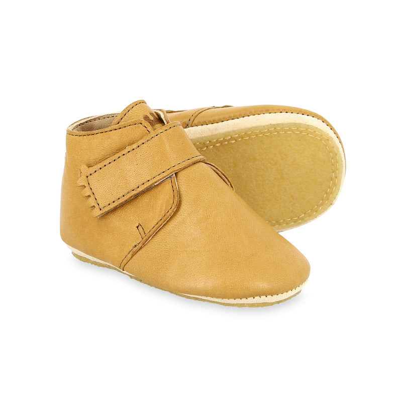 Pair of Easy Peasy Kini baby shoes- boots with non slip crepe sole in tan leather