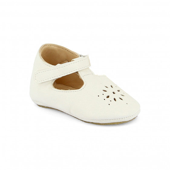 Easy Peasy Lilly baby shoes- mary janes with non slip crepe sole in white leather