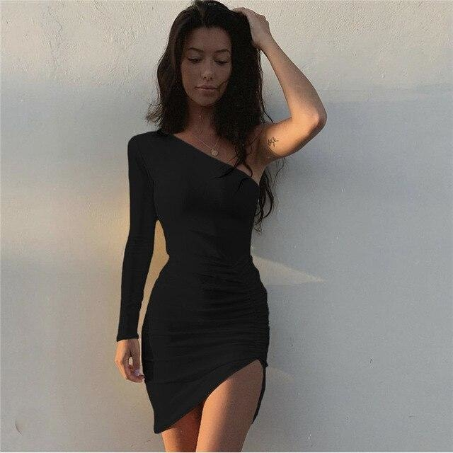 Alexa One Shoulder Mini Dress - At Boujee's