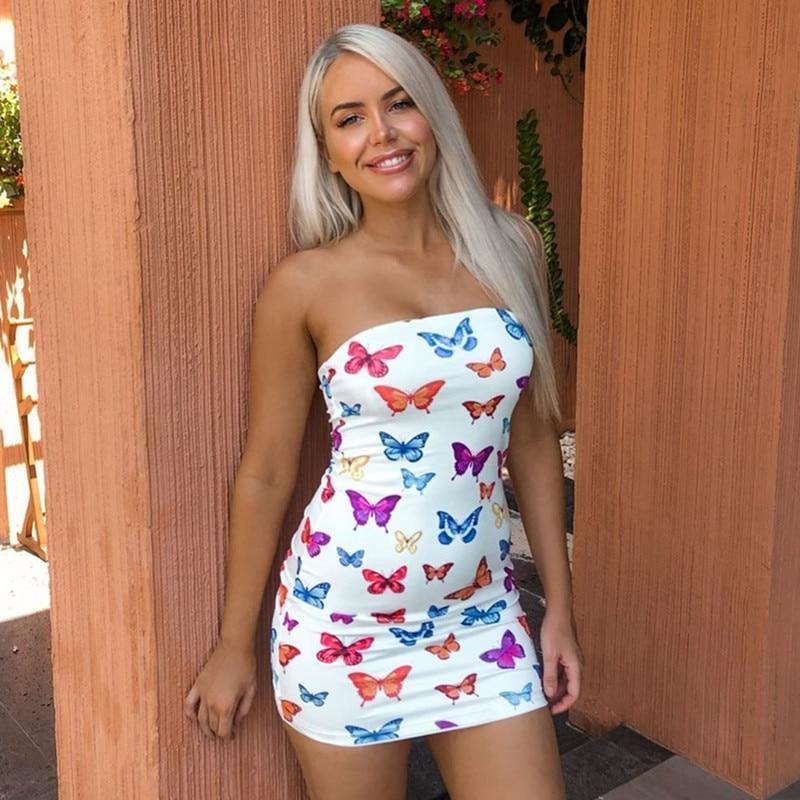 Bamby Butterfly Print Mini Dress - At Boujee's