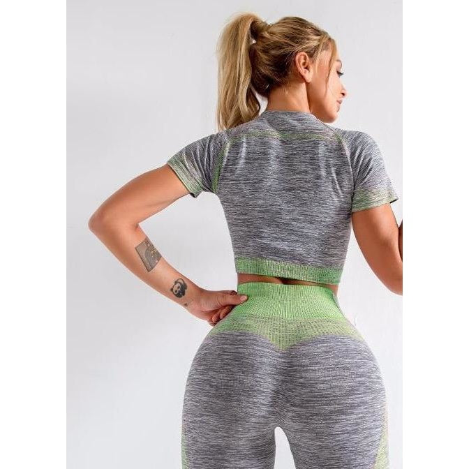 B|Fit ENERGY Full Length Legging - Grey/Lime Green - At Boujee's